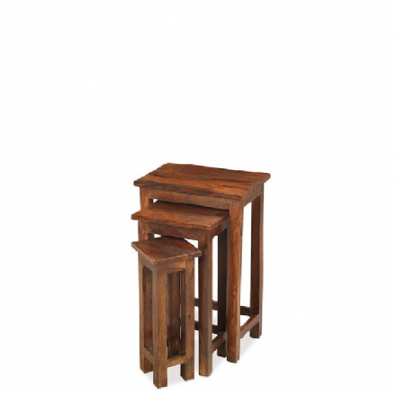 Jali Sheesham Wood Chunky Nest of 3 Tables